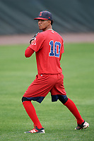 Salem Red Sox pitcher Roniel Raudes (10) during practice before the first game of a doubleheader against the Potomac Nationals on May 13, 2017 at G. Richard Pfitzner Stadium in Woodbridge, Virginia.  Potomac defeated Salem 6-0.  (Mike Janes/Four Seam Images)