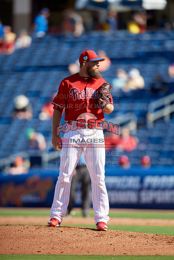 Philadelphia Phillies relief pitcher Josh Martin (68) looks in for the sign during a Grapefruit League Spring Training game against the Baltimore Orioles on February 28, 2019 at Spectrum Field in Clearwater, Florida.  Orioles tied the Phillies 5-5.  (Mike Janes/Four Seam Images)