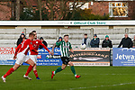 A chance for Michael Sweet of Blyth Spartans. Blyth Spartans v Brackley Town, 30112019. Croft Park, National League North. Photo by Paul Thompson.