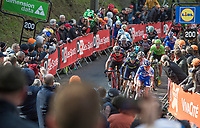 last 200m of the race with Alejandro Valverde (ESP/Movistar) ready to jump<br /> <br /> 81st Flèche Wallonne 2017 (1.UWT)<br /> 1day race: Binche > Huy 200,5KM