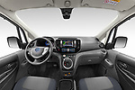 Straight dashboard view of a Stock photo of straight dashboard view of 2021 Nissan e-NV200 Business 4 Door Cargo Van