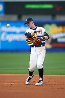 Canisius College Golden Griffins second baseman Jake Lumley (3) throws to first base during the second game of a doubleheader against the Michigan Wolverines on February 20, 2016 at Tradition Field in St. Lucie, Florida.  Michigan defeated Canisius 3-0.  (Mike Janes/Four Seam Images)