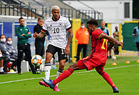 Germany's Lukas Nmecha (10) and Belgium's Hannes Delcroix (19) in action during a soccer game between the national teams Under21 Youth teams of Belgium and Germany on the 5th matday in group 9 for the qualification for the Under 21 EURO 2021 , on tuesday 8 th of September 2020  in Leuven , Belgium . PHOTO SPORTPIX.BE   SPP   SEVIL OKTEM