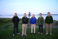 Left to right, Assistant Superintendent Mark Trenter, Superintendent Josh Lewis, Equipment Manager Jerry Holcomb, Assistant superintendent Michael Krouse, and Director of Egronomy Eric Johnson. Chambers Bay Golf Course in University Place, Washington will host the 2015 U.S. Open in June 2015. Photo by Daniel Berman for Golf Course Management Magazine.