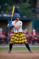 Savannah Bananas Bill Leroy (1) bats during a Coastal Plain League game against the Macon Bacon on July 15, 2020 at Grayson Stadium in Savannah, Georgia.  Savannah wore kilts for their St. Patrick's Day in July promotion.  (Mike Janes/Four Seam Images)