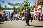 Independence Day celebration Main Street, Mokelumne Hill, California..Black Bart