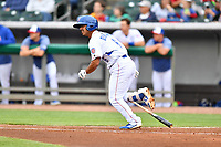 Tennessee Smokies second baseman Christian Donahue (6) runs to first base during a game against the Birmingham Barons at Smokies Stadium on May 15, 2019 in Kodak, Tennessee. The Smokies defeated the Barons 7-3. (Tony Farlow/Four Seam Images)