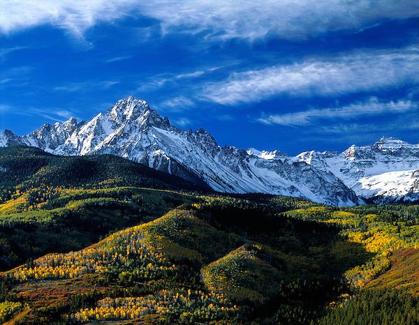 Mount Sneffels in the San Juan Mountains, autumn aspen trees, Telluride, Colorado, USA John offers autumn photo tours throughout Colorado.