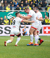 11 January 2020; Jack McGrath congratulates John Cooney after he scored Ulster's first try against Clermont during the Heineken Champions Cup Pool 3 Round 5 match between ASM Clermont Auvergne and Ulster at Stade Marcel-Michelin in Clermont-Ferrand, France. Photo by John Dickson/DICKSONDIGITAL