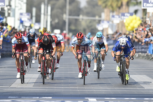 Race leader Elia Viviani (ITA) Quick-Step Floors and Marco Haller (AUT) Katusha Alpecin sprint for the finish line of Stage 5 The Meraas Stage final stage of the Dubai Tour 2018 the Dubai Tour's 5th edition, running 132km from Skydive Dubai to City Walk, Dubai, United Arab Emirates. 10th February 2018.<br /> Picture: LaPresse/Fabio Ferrari   Cyclefile<br /> <br /> <br /> All photos usage must carry mandatory copyright credit (© Cyclefile   LaPresse/Fabio Ferrari)