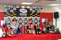 Winner Shane Byrne of Be Wiser Ducati Racing Team during the conference after race two of the MCE British Superbikes in Association with Pirelli with second place Christian Iddon of Tyco BMW Motorrad (Left) and Third place James Ellison of McAMS Yamaha Round 12 2017 - BRANDS HATCH (GP) at Brands Hatch, Longfield, England on 15 October 2017. Photo by Alan  Stanford / PRiME Media Images.