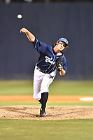 Asheville Tourists pitcher Tommy Doyle (16) delivers a pitch during a game against the Columbia Fireflies at McCormick Field on April 12, 2018 in Asheville, North Carolina. The Fireflies defeated the Tourists 7-5. (Tony Farlow/Four Seam Images)