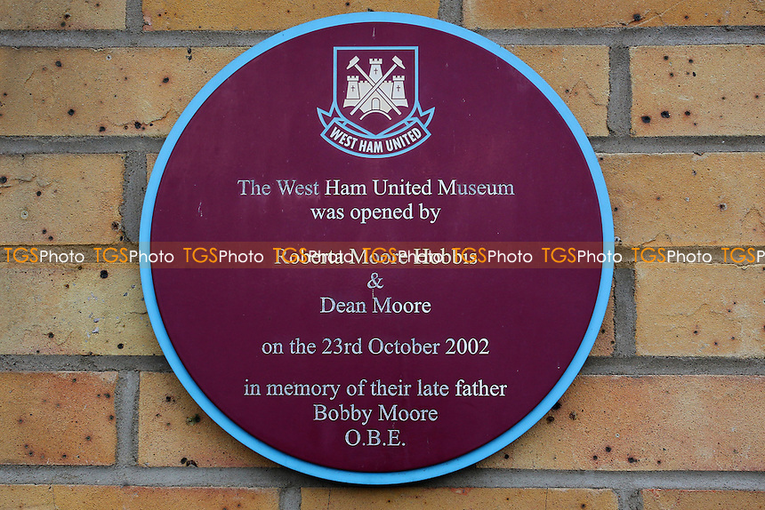 West Ham United museum plaque ahead of West Ham United Ladies vs Tottenham Hotspur Ladies, FA Women's Premier League Football at the Boleyn Ground, Upton Park