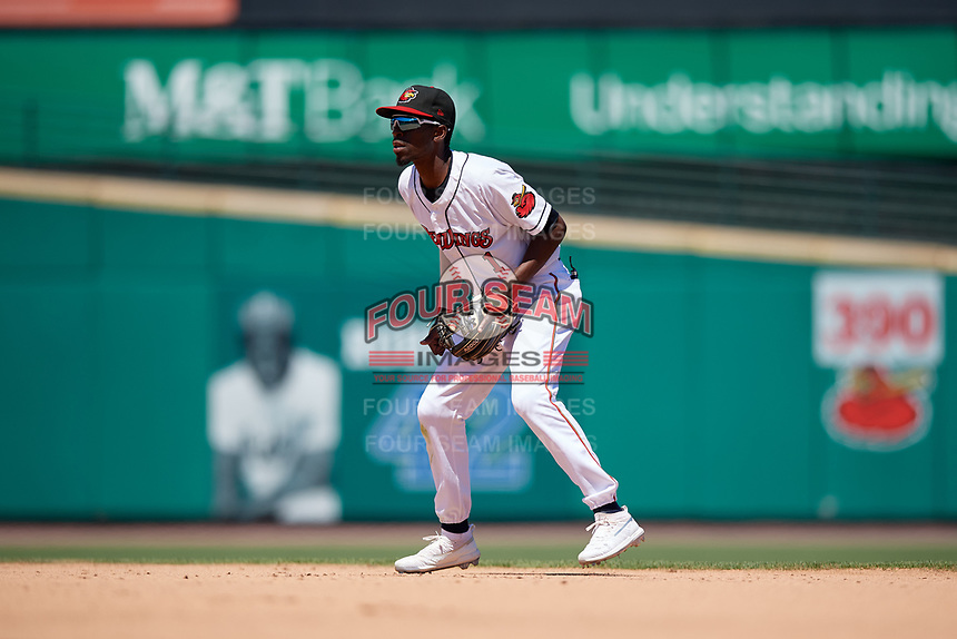 Rochester Red Wings second baseman Nick Gordon (1) during an International League game against the Scranton/Wilkes-Barre RailRiders on June 25, 2019 at Frontier Field in Rochester, New York.  Rochester defeated Scranton 10-9.  (Mike Janes/Four Seam Images)