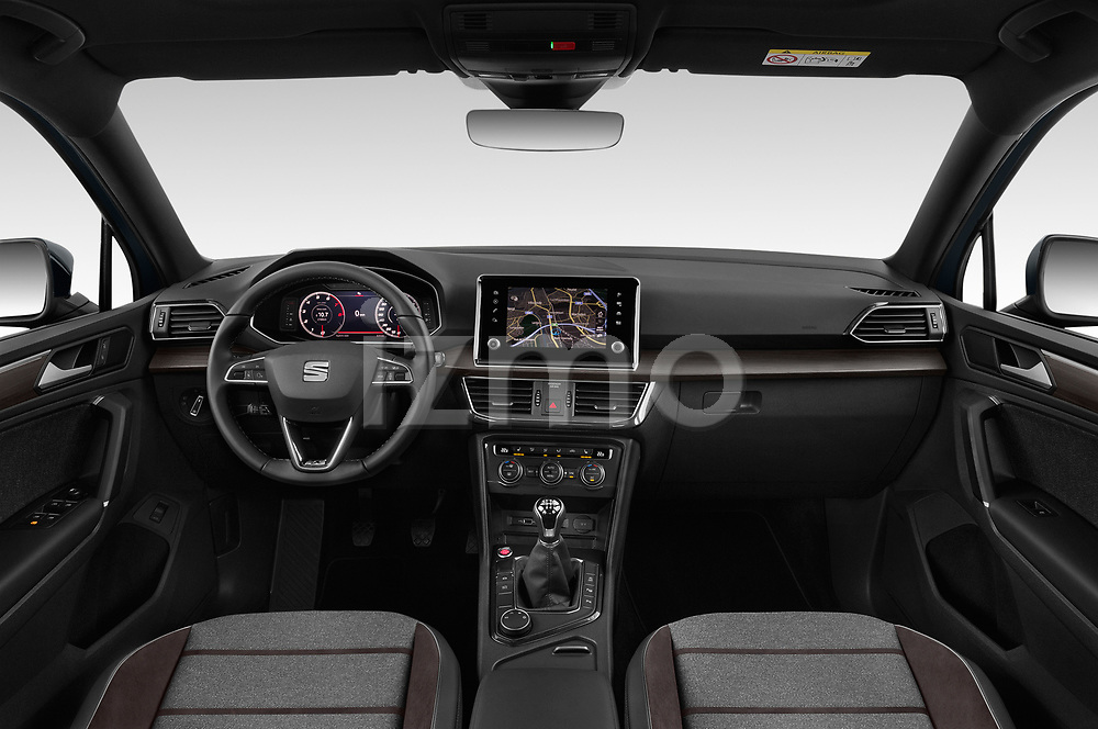 Stock photo of straight dashboard view of 2019 Seat Tarraco Xcellence 5 Door SUV Dashboard