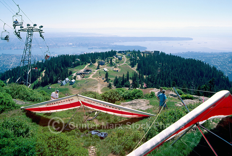 Hang Gliding at Grouse Mountain, North Vancouver, BC, British Columbia, Canada - Aerial View of Vancouver City and English Bay, Summer