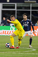 """Foxborough, Massachusetts - May 15, 2019: In """"Final Whistle on Hate"""" charity match, Chelsea FC (FFF) defeated New England Revolution (blue/white), 3-0, at Gillette Stadium on May 15, 2019 in Foxborough, Massachusetts. (Photo by Tim Bouwer/ISI Photos)."""