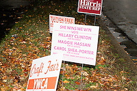 Hillary Clinton - Campaign signs - Manchester, NH - 28 October 2016