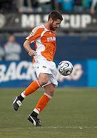 Houston Dynamo defender and team captain Wade Barrett receives the ball.  The Houston Dynamo win MLS Cup 2006 over the New England Revolution after playing to a 1-1 tie during regulation and extra time at Pizza Hut Park in Frisco, TX on November 12, 2006.