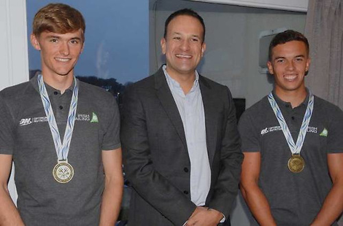 Early signs of success - Taoiseach Leo Varadkar congratulates Robert Dickson and Sean Waddilove after their Under 23 win in 2018 at Howth Yacht Club