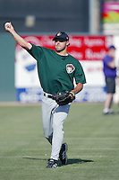 Mike Esposito of the Visalia Oaks throws before a game against the Lancaster JetHawks at The Hanger on May 20, 2003 in Lancaster, California. (Larry Goren/Four Seam Images)