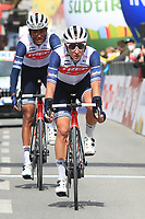 20th April 2021; Cycling Tour of the Alps Stage 2, Innsbruck, Feichten Im Kaunertal Austria;  Alejandro Osorio Caja Rural and Amanuel Ghebreigzabhier Trek-Segafredo