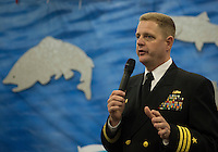 130502-N-DR144-777 ANCHORAGE, Alaska (May 2, 2013)- Commanding Officer Cmdr. Joel Stewart speaks during a reception aboard San Antonio-class amphibious transport dock ship USS Anchorage (LPD 23). Anchorage is currently moored in its namesake city of Anchorage, Alaska for its commissioning ceremony scheduled to take place May 4. (U.S. Navy photo by Mass Communication Specialist 1st Class James R. Evans / RELEASED)