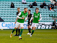 21st April 2021; Easter Road, Edinburgh, Scotland; Scottish Premiership Football, Hibernian versus Livingston; Martin Boyle of Hibernian celebrates after scoring second goal from the penalty spot after a foul by Efe Ambrose in the box in the 26th minute