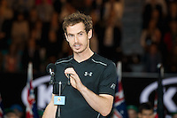 January 31, 2016: Andy Murray of United Kingdom accepts the Men's Final runners up trophy on day fourteen of the 2016 Australian Open Grand Slam tennis tournament at Melbourne Park in Melbourne, Australia. Novak Djokovic won 61 75 76. Photo Sydney Low