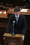 Gov. Rod Blagojevich made his first appearance at his Senate impeachment trial on the fourth and last day, refusing to testify but delivering closing arguments on his own behalf at the Illinois State Capitol in Springfield, Ill., Thursday, January 29, 2009. Later that day the Illinois Senate voted 59-0 to remove him from office..Kristen Schmid Schurter