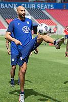 SANDY, UT - JUNE 8: John Brooks passes the ball during a training session at Rio Tinto Stadium on June 8, 2021 in Sandy, Utah.