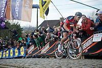 Greg Van Avermaet (BEL/BMC) charging up the cobbles of the Paterberg<br /> <br /> 99th Ronde van Vlaanderen 2015
