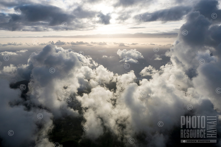 May 2018: An aerial view of clouds over the Kilauea Volcano eruption in Leilani Estates, Puna, Big Island of Hawai'i.