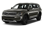 2020 KIA Telluride SX 5 Door SUV angular front stock photos of front three quarter view