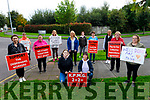 Amy Hourigan and Trish O'Sullivan get a rousing reception from their colleagues at the Debenhams Manor picket line, having returned from the Debenhams protest in Cork. Kneeling: Amy Hourigan and Trish O'Sullivan. Back l to r: Liz O'Donnell, Marion Sayers, Deirdre Mangan, Michelle Lynch, Mary Dean, Caroline Stack, Joan O'Sullivan, Eva Chovanova, Rita Gleeson and Susan Naughton.