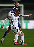 8th October 2020, Sarajevo Bosnia; European International Football Championships playoff,  Bosnia and Herzegovina versus Northern Ireland;  Steven Davis of Northern Ireland clips the pass forward under pressure