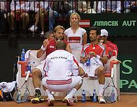 14-sept.-2013,Netherlands, Groningen,  Martini Plaza, Tennis, DavisCup Netherlands-Austria, Doubles,   Austrian bench<br /> Photo: Henk Koster