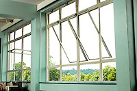 Metal framed windows in school classroom.