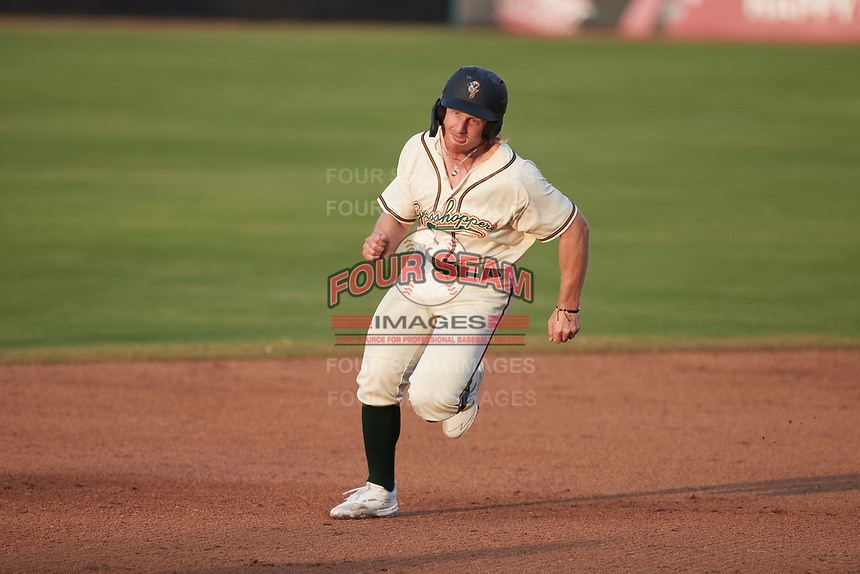 Aaron Shackelford (44) of the Greensboro Grasshoppers hustles towards third base against the Wilmington Blue Rocks at First National Bank Field on May 25, 2021 in Greensboro, North Carolina. (Brian Westerholt/Four Seam Images)