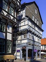 Fachwerkhaus Schuhhof 8, Goslar, Niedersachsen, Deutschland, Europa, UNESCO-Weltkulturerbe<br /> Halftimbered house Schuhhof 8, Goslar, Lower Saxony,, Germany, Europe, UNESCO Heritage Site