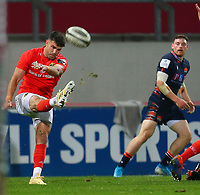 10th October 2020; Thomond Park, Limerick, Munster, Ireland; Guinness Pro 14 Rugby, Munster versus Edinburgh; Conor Murray of Munster with a box kick
