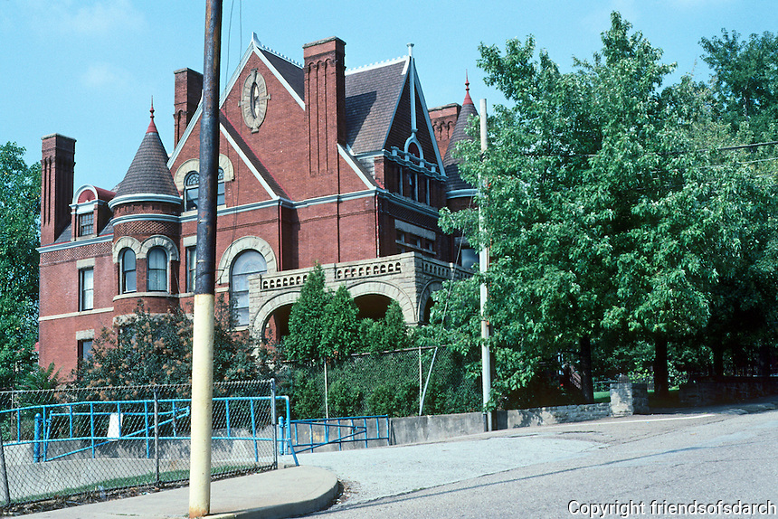 """Pittsburgh: Braddock, Charles M. Schwab House. Architect Frederick Osterling, 1889. A """"charming Queen Anne Hulk"""".  Photo 2001.                       """""""