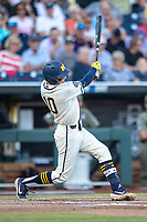 Michigan Wolverines third baseman Blake Nelson (10) swings the bat against the Vanderbilt Commodores during Game 1 of the NCAA College World Series Finals on June 24, 2019 at TD Ameritrade Park in Omaha, Nebraska. Michigan defeated Vanderbilt 7-4. (Andrew Woolley/Four Seam Images)