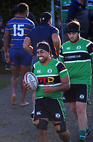 Action from the North Harbour premier club rugby match between Takapuna and Kumeu at Onewa Domain in Northcote, New Zealand on Saturday, 19 June 2021. Photo: Dave Lintott / lintottphoto.co.nz