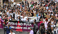 BOGOTA-COLOMBIA-06-03-2013. Marcha de las Putas, el movimiento busca reivindicar los derechos de las mujeres a la seguridad sexual y a vivir libres de estereotipos. Se espera que cerca de 8.000 personas acudan a las marchas en todo el país. La concentración más grande será en Bogotá. March of the Whores the movement seeks to vindicate the rights of women to sexual safety and freedom from stereotypes. He expects about 8,000 people to attend marches across the country. The largest concentration is in Bogotá. (Photo: VizzorImage / Luis Ríos / Str.) Marcha de las Putas / March of the whores - 06-04-2013Photo / VizzorImage / Felipe Caicedo / Staff