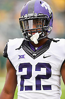TCU tackle Aaron Green (22) leaves the field after pre game warmup before an NCAA football game kickoff, Saturday, October 11, 2014 in Waco, Tex. Baylor defeated TCU 61-58 to remain undefeated in BIG 12 conference. (Mo Khursheed/TFV Media via AP Images)