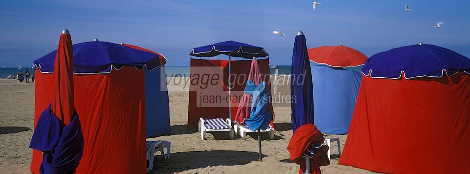 Europe/France/Normandie/14/Calvados/Deauville: la plage, les tentes et parasols