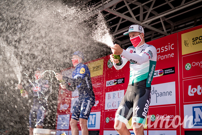 Pascal Ackermann (DEU/BORA - hansgrohe) finished 3rd as Sam Bennett (IRA/Deceuninck - Quick Step) won the 45th Oxyclean Classic Brugge-De Panne 2021 (ME/1.UWT)<br /> <br /> 1 day race from Bruges to De Panne (204km)<br /> <br /> ©kramon