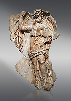 Roman Sebasteion relief sculpture of the goddess Herma (day), Aphrodisias Museum, Aphrodisias, Turkey.<br /> <br /> Goddess  Herma or Day steadies a dramatically billowing cloak that frames her head. The motif , also visible on the Okeanos relief, indicates flying, floating and divine epiphany - the appearance of gods to mortals. Day would be paired with night : together they signify the eternity of the Roman imperial order.