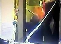 """COPY BY TOM BEDFORD<br /> Pictured: Video still showing the moment chef Kamrul ISlam throws chilli powder to David Evans<br /> Re: Chef Kamrul Islam who attacked a client with chilli powder is due to appear before Merthyr Tydfil Magistrates Court.<br /> David Evans was at the Prince of Bengal restaurant on Saturday night when the incident took place.<br /> The 46-year-old was out for dinner with his wife Michelle when they were asked by a waiter if they were enjoying their curry.<br /> The couple said they told the waiter their meal was """"tough and rubbery"""" and he passed the complaint onto the head chef.<br /> Michelle said chilli powder was then thrown into her husband's eyes and he was taken to hospital."""